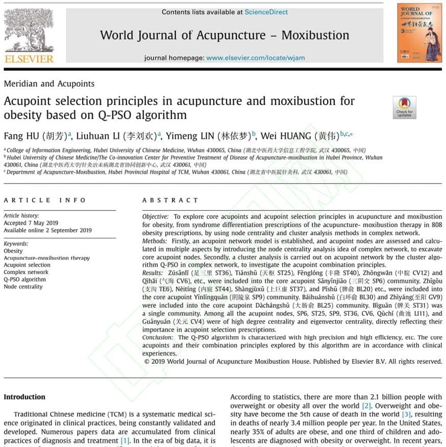 Acupoint selection principles in acupuncture and moxibustion for obesity based on Q-PSO algorithm