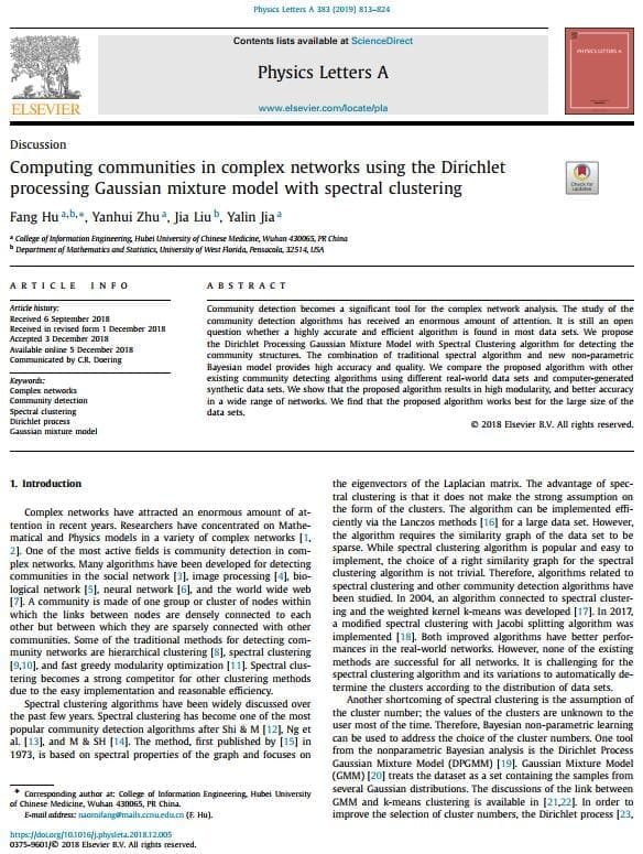Computing communities in complex networks using the Dirichlet processing Gaussian mixture model with