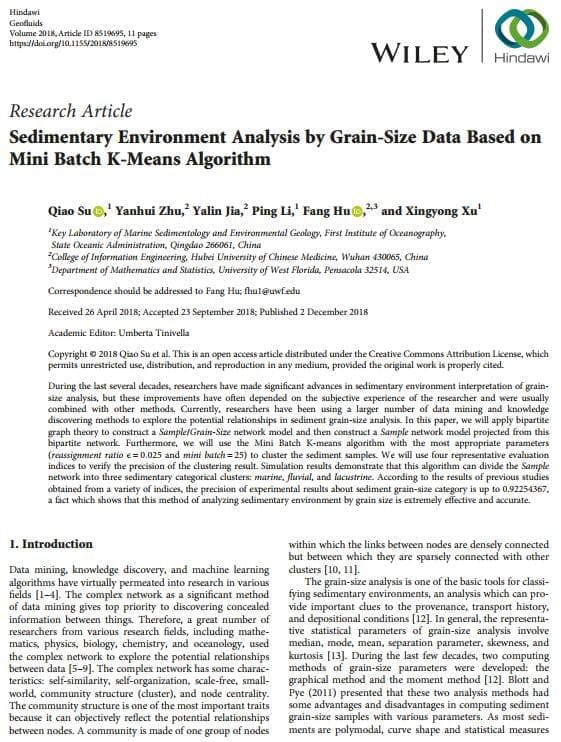 Sedimentary Environment Analysis by Grain-Size Data Based on Mini Batch K-Means Algorithm