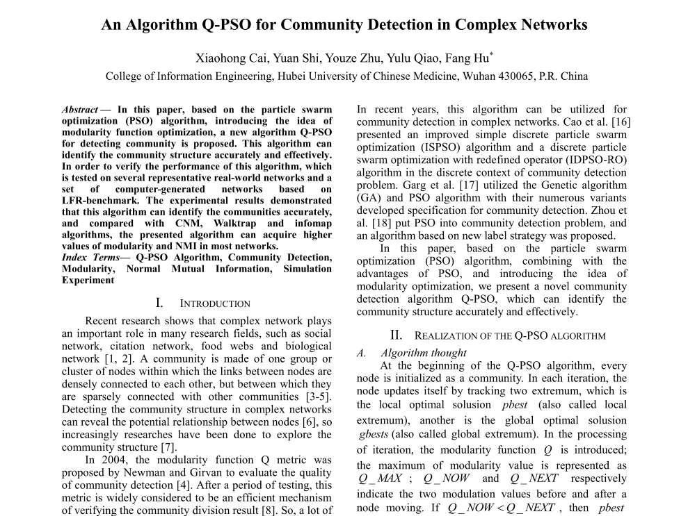 An Alogrithm Q-PSO for Community Detection in Complex Networks